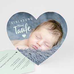 Einladungskarten Taufe Jungen  - Herzchentaufe - 0