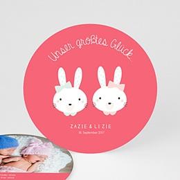 Babykarten für Zwillinge gestalten - Hasenmädchen - 0