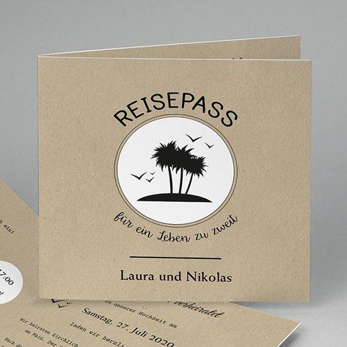 Hochzeitseinladungen modern - Reisepass ins Glück 47292