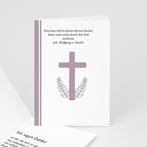 Trauer Danksagung christlich - Klappkarte Kreuz - grau 4732