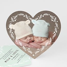 Babykarten für Zwillinge gestalten - Doppeltes Herz - 0