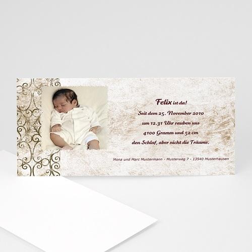 Geburtskarten für Mädchen - Geburtskarte Schlichte  Arabesken 4784