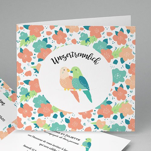 Hochzeitseinladungen modern - Lovebirds 47866