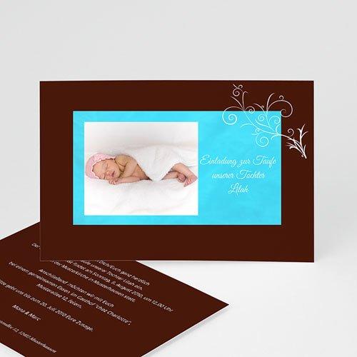 Einladungskarten Taufe Jungen  - Taufkarte Chocolat und Blau 1 4788