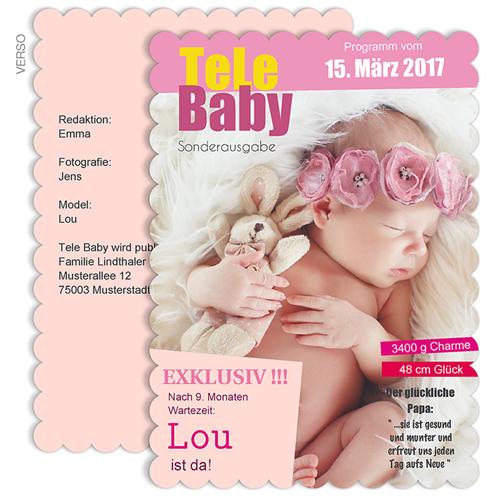Geburtskarten für Mädchen - Tele Baby 48003