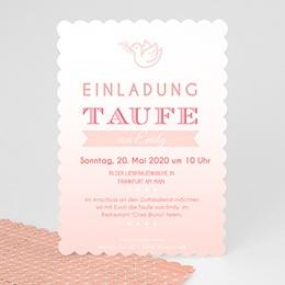 Einladungskarten Taufe Mädchen - Rosatöne Taufe - 0