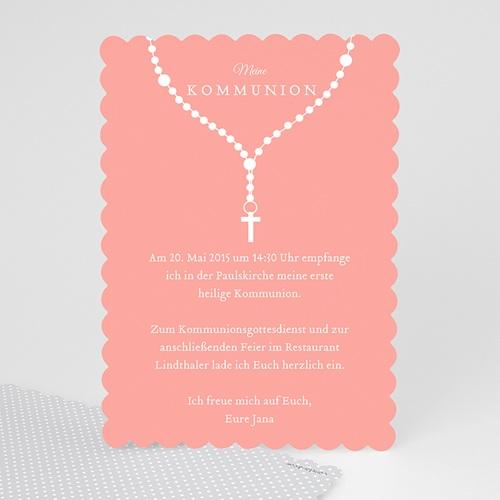 Einladungskarten Kommunion Mädchen - Kette mit Kreuz 48039
