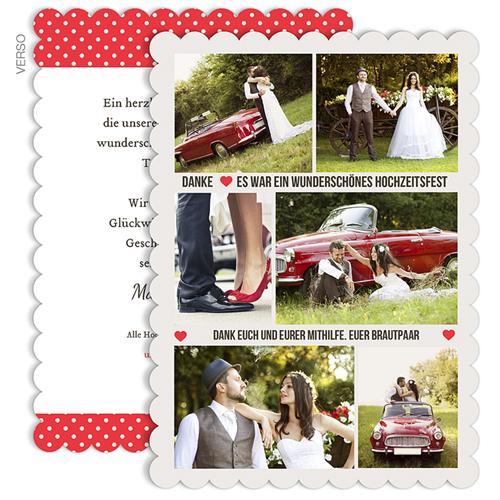 Alle Dankeskarten Hochzeit - Vintage Rot 48090
