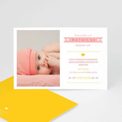 Dankeskarten Geburt Mädchen - Farbmix 48169