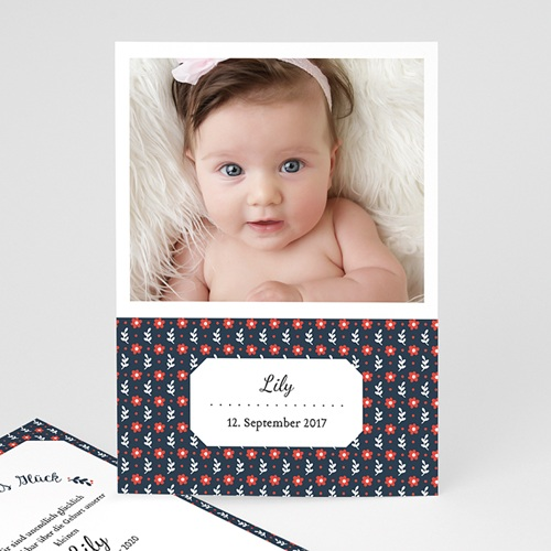 Geburtskarten für Mädchen - Retro rot-blau 48208