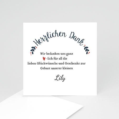 Dankeskarten Geburt Mädchen - Red Flowers 48235