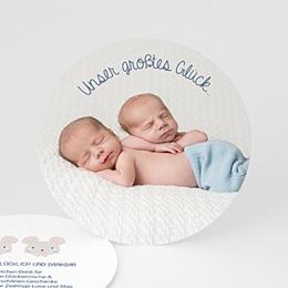Dankeskarten Geburt - Zwillingsmäuse - 0