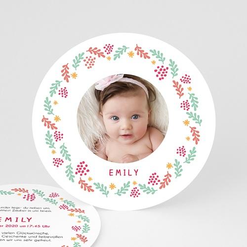 Geburtskarten für Mädchen - Runder Kranz  48385