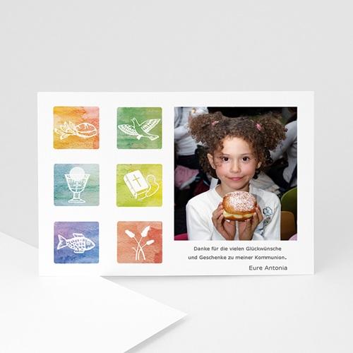 Dankeskarten Kommunion Mädchen - Danksagung Aquarell 4844