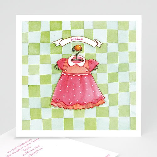Geburtskarten für Mädchen - Kleidchen 4848