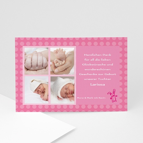 Dankeskarten Geburt Mädchen - Danksagung Kleiner rosa Hase 4890