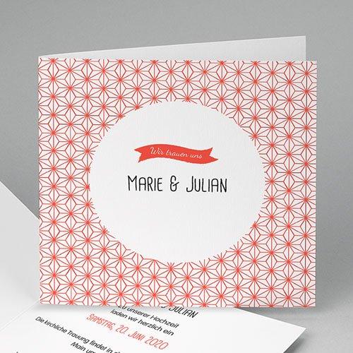 Hochzeitseinladungen modern - Motiv Origami 49085