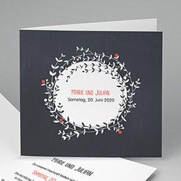 Hochzeitseinladungen modern - Blütenkranz - 0