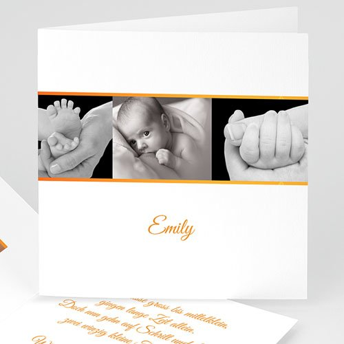 Geburtskarten für Mädchen - Geburtskarte Fotorahmen orange 4960