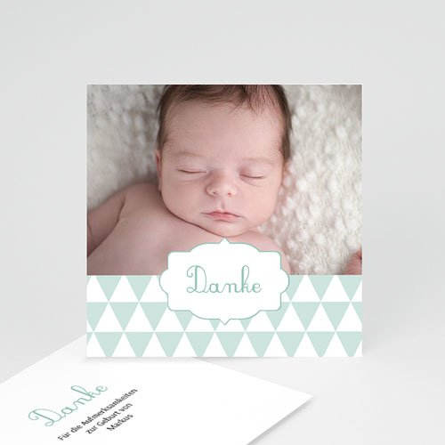 Dankeskarten Geburt Jungen - Fähnchen 49665
