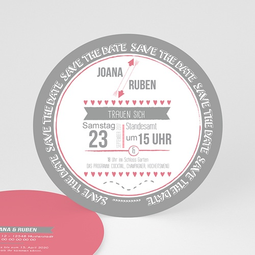 Hochzeitseinladungen modern - Rosa & Grau 49740