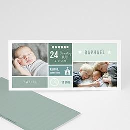 Einladungskarten Taufe Jungen  - Pixel Stil - 0
