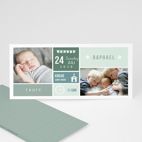 Einladungskarten Taufe Jungen  - Pixel Stil 49850