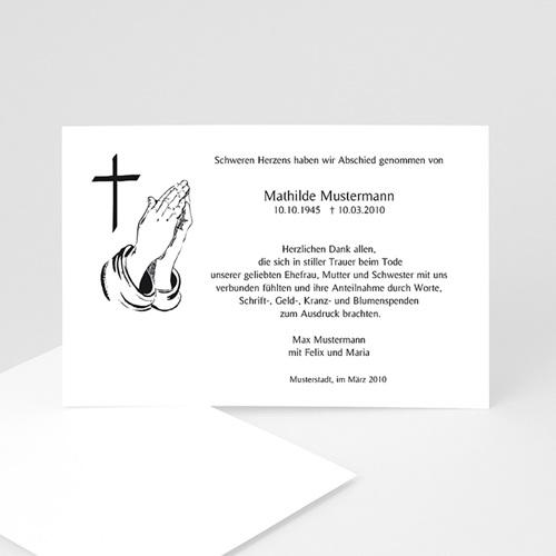 Trauer Danksagung christlich - Gefaltete Hände 5012