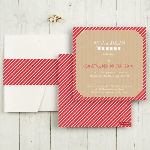 Hochzeitskarten Quadratisch - Gestreift 50371