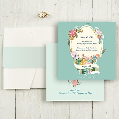 Hochzeitskarten Quadratisch - Vintage Romantik 50375