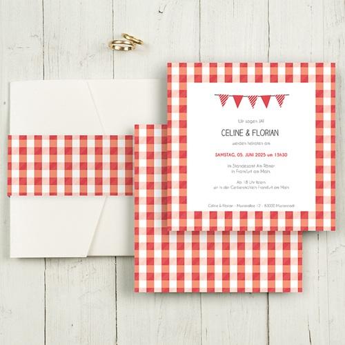 Hochzeitskarten Quadratisch - Ambiente Vichy 50425
