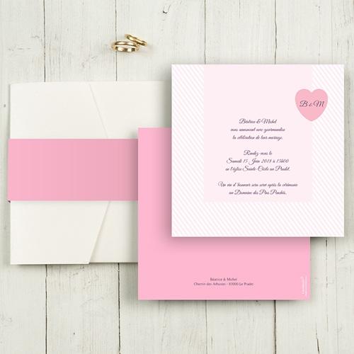Hochzeitskarten Quadratisch - Rose Bonbon 50436