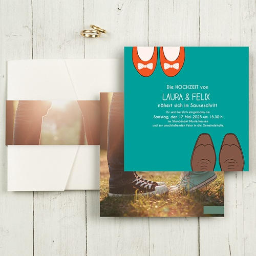 Hochzeitskarten Quadratisch - Retro Look 50453
