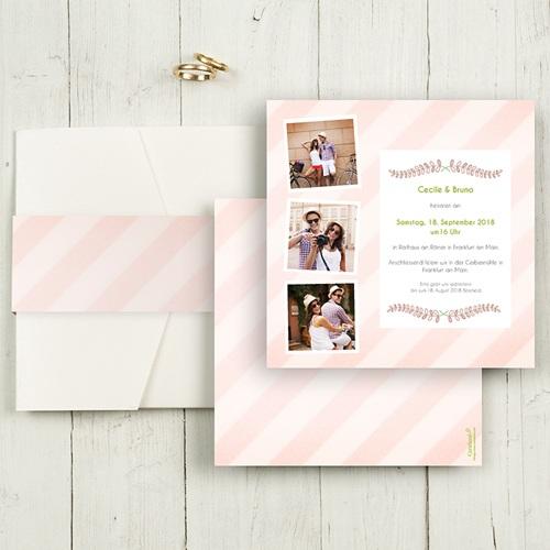 Hochzeitskarten Quadratisch - Streifendesign 50455