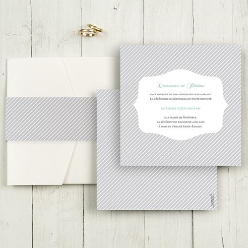 Hochzeitskarten Quadratisch - Schwarz-weiss gestreift 50491