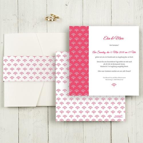Hochzeitskarten Quadratisch - Himbeerfarben 50500