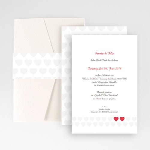 Hochzeitskarten Querformat - Zwei Herzen 50855