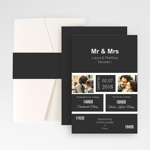 Hochzeitskarten Querformat - Mr & Mrs 50857