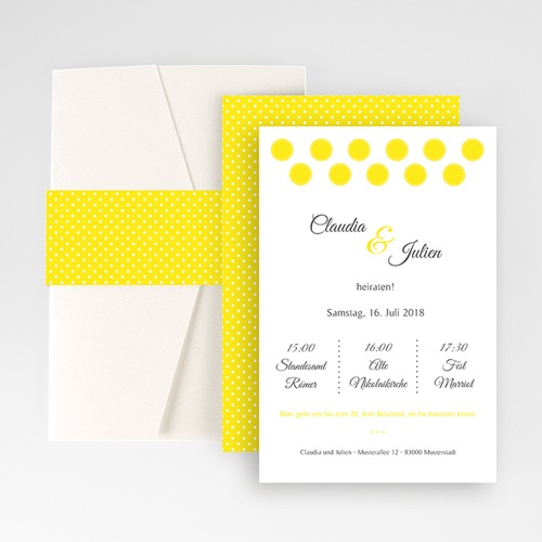 Hochzeitskarten Querformat - Inspiration Zitrone 50861