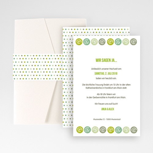 Hochzeitskarten Querformat - Green Wedding 50925