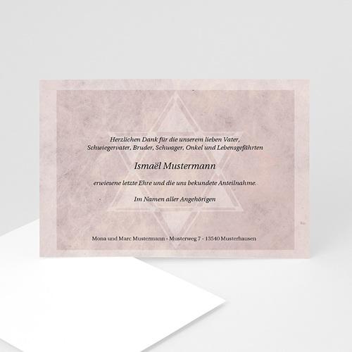 Trauer Danksagung israelitisch - Trauerkarte rosé 5119