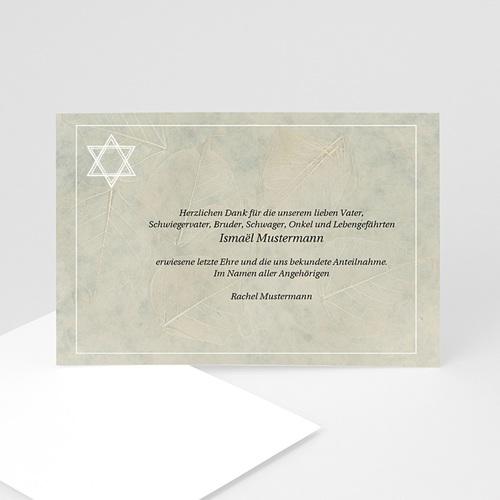 Trauer Danksagung israelitisch - Trauekarte Stern 5131