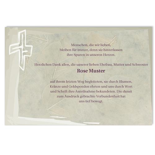 Trauer Danksagung christlich - Blattmuster 5139