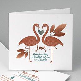 Hochzeitseinladungen modern - Flamingo Love - 0