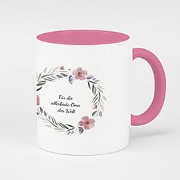 Zweifarbtasse - Rosa & Blüten - 0