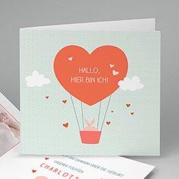 Geburtskarten für Mädchen - Heissluftballon - 0