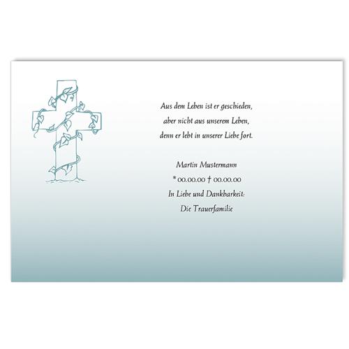 Trauer Danksagung christlich - Efeu am Kreuz 5179