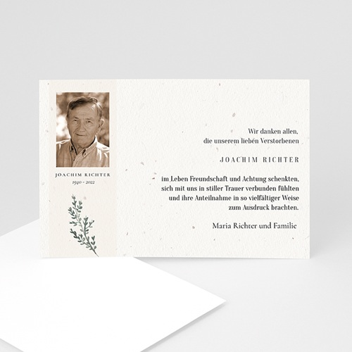 Trauer Danksagung weltlich - Trauerkarte Schwarz Kopf 5195