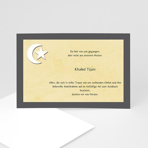 Trauer Danksagung muslimisch - Mondsichel auf beigem Hintergrund 5235