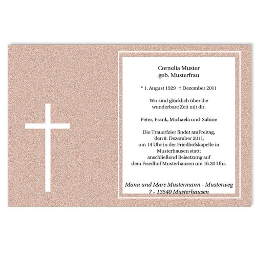 Trauer Danksagung christlich - Lateinisches Kreuz 5251